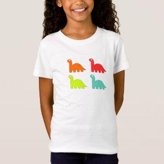 Camisa colorida do dinossauro das meninas