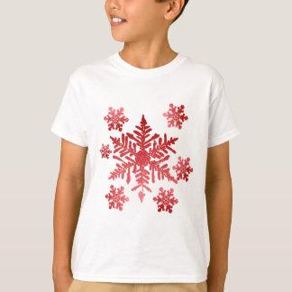 Camisa com flocos de neve vermelhos