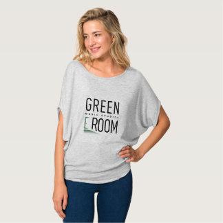 Camisa confortável do logotipo verde da sala