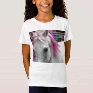 Camisa cor-de-rosa das meninas T do cavalo