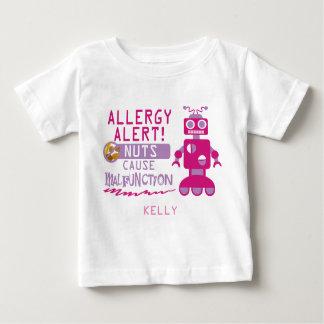 Camisa cor-de-rosa do alerta da alergia da porca