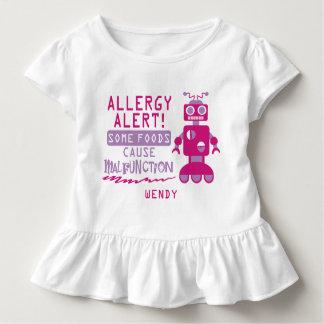 Camisa cor-de-rosa do alerta da alergia de comida