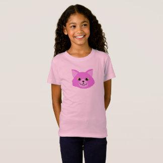 Camisa cor-de-rosa do gato T da criança
