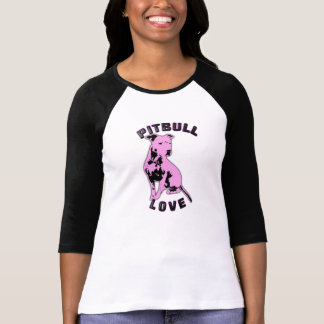 Camisa cor-de-rosa & preta do amor de Pitbull Camiseta