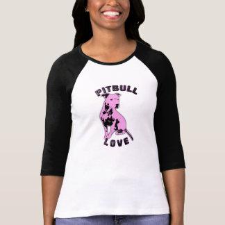Camisa cor-de-rosa & preta do amor de Pitbull T-shirts