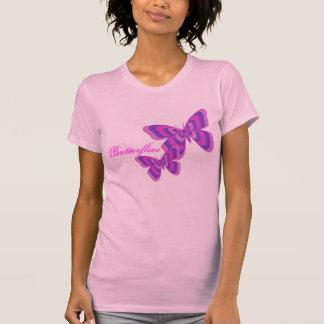 Camisa cor-de-rosa & roxa da borboleta camisetas