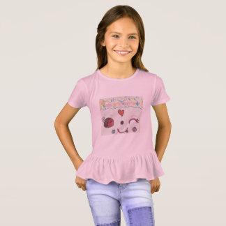 Camisa cor-de-rosa Ruffled