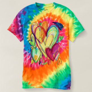 Camisa cura inspirada da tintura do laço da arte