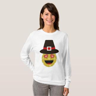 Camisa da acção de graças de Emoji do chapéu do