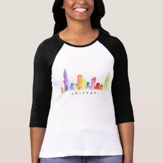 Camisa da aguarela de Chicago do Raglan das T-shirts