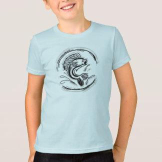 Camisa da arte da pesca da tinta dos meninos