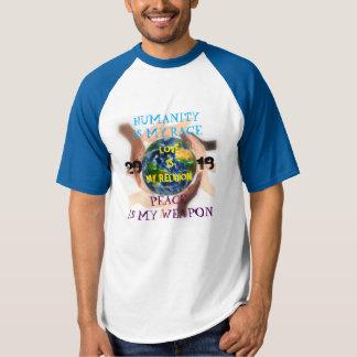 Camisa da assinatura da humanidade, da paz e do