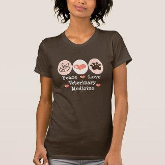 Camisa da medicina veterinária T do amor da paz T-shirt