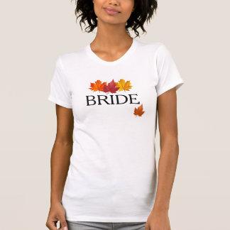 Camisa da noiva do outono - folhas da queda