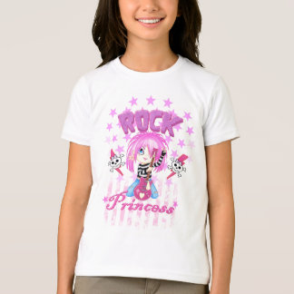 Camisa da princesa da estrela do rock da menina