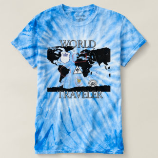 Camisa da tintura do laço do viajante de mundo