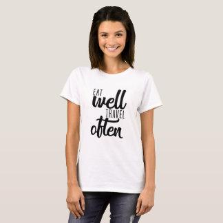 Camisa da tipografia - coma bem o viagem
