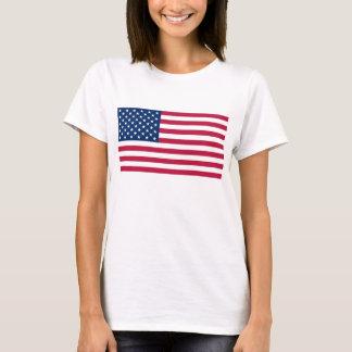 Camisa das mulheres T com a bandeira dos EUA