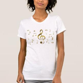 Camisa das notas musicais do ouro