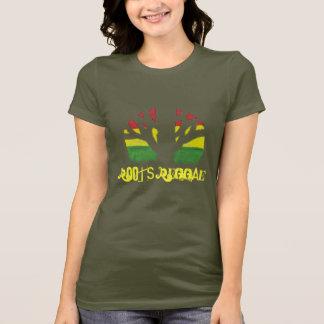 Camisa das senhoras Brown T da reggae das raizes