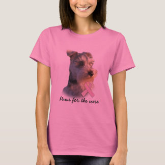 Camisa das senhoras do cancro da mama do Schnauzer