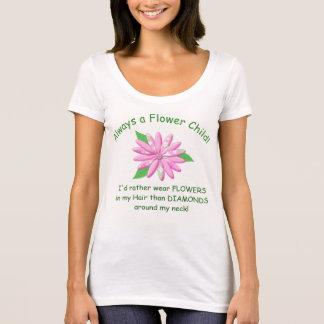 Camisa das senhoras T da criança de flor -