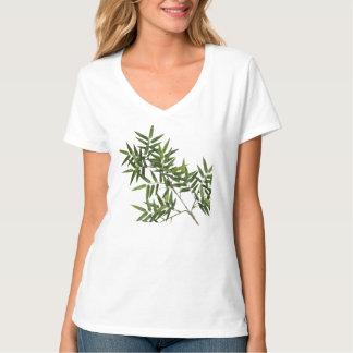 Camisa de bambu (TM) branca do V-pescoço tranquilo