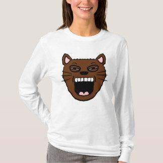 Camisa de bocejo do gato dos desenhos animados