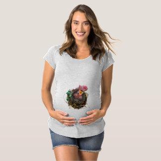 Camisa de maternidade Sleeved Short do pássaro de