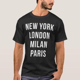 Camisa de New York Londres Milão Paris T