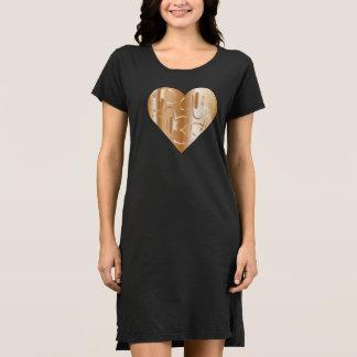 Camisa de noite com coração/flores do Cobre-Estilo