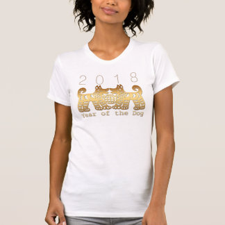 Camisa de Papercut do ouro do ano 2018 do cão da