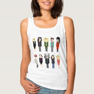 Camisa de Sestras do pixel - vertical 10 - preto