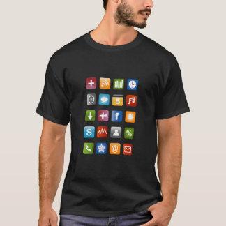 Camisa de Smartphone t com ícones coloridos do app