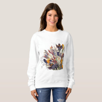 Camisa de suor floral das senhoras