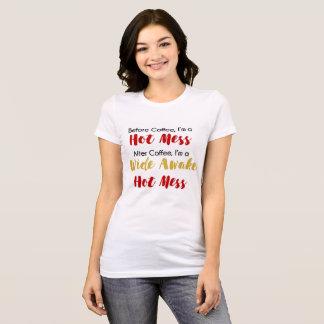 Camisa do amante café da confusão quente desperto