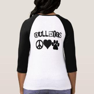 Camisa do amor do buldogue (sinais/palavras na