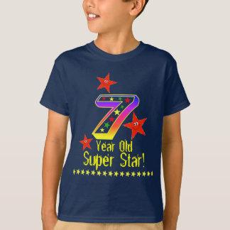 Camisa do aniversário da estrela super 7a para