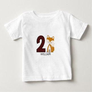 Camisa do aniversário da xadrez do Fox do bebê