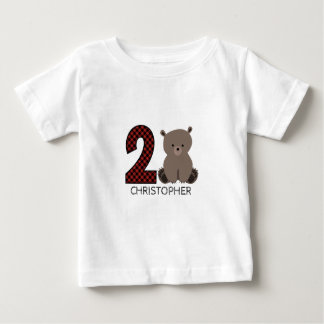 Camisa do aniversário da xadrez do urso do bebê