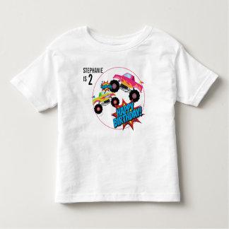 Camisa do aniversário das meninas do monster truck