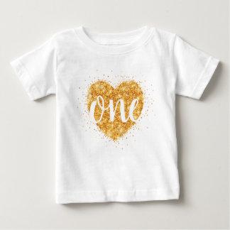 Camisa do aniversário do coração do brilho do ouro