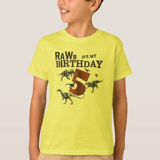 Camisa do aniversário do dinossauro de Rawr