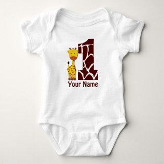 Camisa do aniversário do girafa primeira