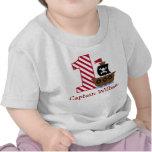 Camisa do aniversário do pirata customizável prime camiseta