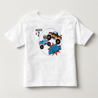 Camisa do aniversário dos meninos do monster truck