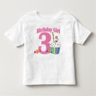 Camisa do aniversário T do cupcake do número 3 das