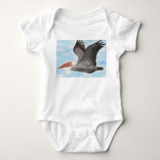 Camisa do bebê do pelicano de Brown