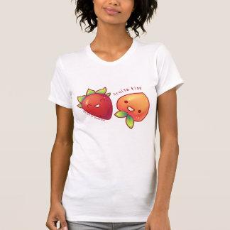 Camisa do beijo das frutas da morango e do pêssego