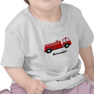 Camisa do carro de bombeiros T dos meninos T-shirts